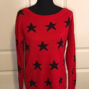 Women's Express Red Star Printed Sweater